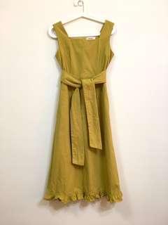 正韓 黃 棉麻方領洋裝 木耳裙邊 bff80s