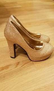 (全新)金色厚底高跟鞋4寸