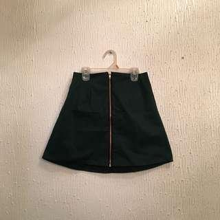 UNBRANDED Green Skirt with Zipper in the Middle