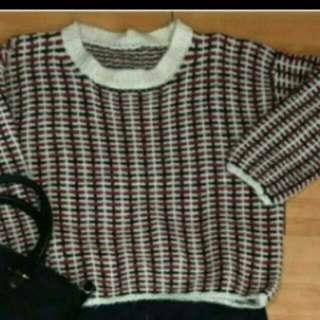 韓版三色編織毛衣