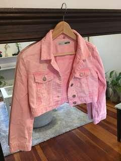 Topshop coral orange pink cropped denim jacket