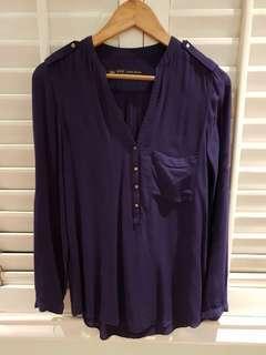 Zara basic navy top