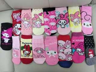 Sanrio melody socks 三麗鷗美樂蒂純棉短襪