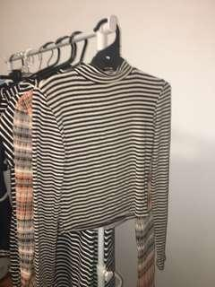 Striped turtle neck long sleeve crop top