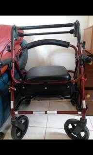 🚚 舒適座輪椅 可調式推把 配側置物袋