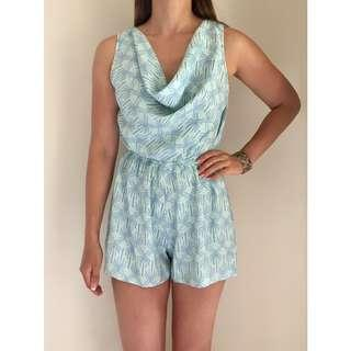 MISS SELFRIDGE Pastel Green Blue Palm Print Playsuit Romper Sz 10-12 PETITE