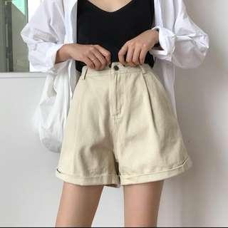 Cream Khaki High Waist Shorts