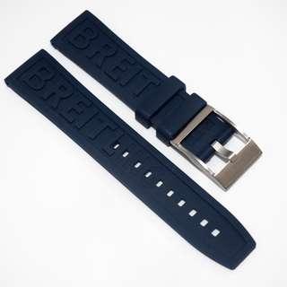 全新22mm Breitling款深藍色橡膠代用錶帶配精鋼針扣
