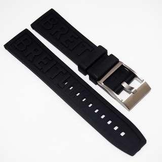 全新22mm Breitling款黑色橡膠代用錶帶配精鋼針扣