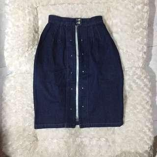 zip jeans skirt