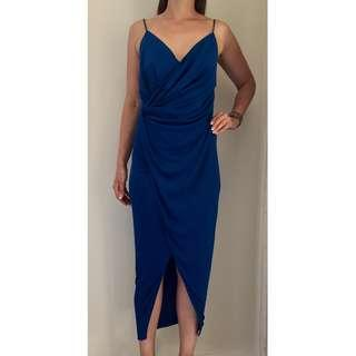 NEW SHEIKE Embassy Peacock Blue Stretch Midi Cocktail Party Dress Sz 10 RRP $160