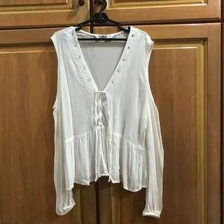 White chiffon blouse V neck with lace tie