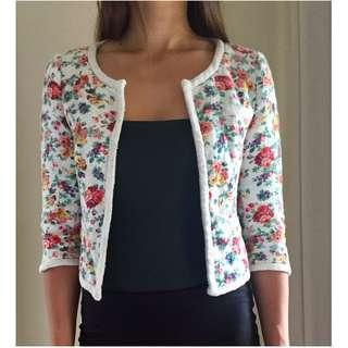 ZARA TRF White Floral Print Rockabilly Pin Up 50's Cropped Twill Cardigan Sz S