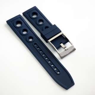 全新22mm Breitling圈圈款深藍色橡膠代用錶帶配精鋼針扣