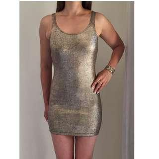NEW 'ONLY' Gold Foil 'Black Milk Serpent Inspired' Bodycon Mini Dress sz 6-8 by Only