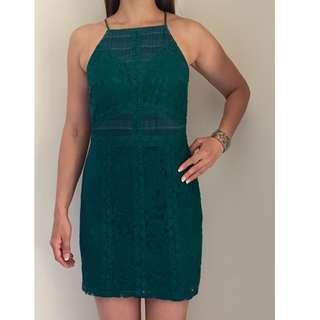 Deep Green Strappy Lace Bodycon Mini Cocktail Dress by Topshop size AU 10 12