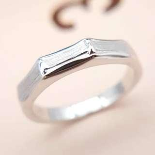 Bamboo Ring, 925 Silver with white gold plated, wedding band, couple rings, Free size, WB006