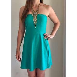 Deep Jade Green Strapless Skater Dress Textured Waffle Fabric Sz AU 10-12 by H&M