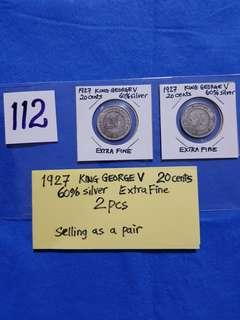 1927 KING GEORGE V .    20 CENTS. 60% SILVER.   2 PCS EXTRA FINE.   SELLING AS A PAIR.