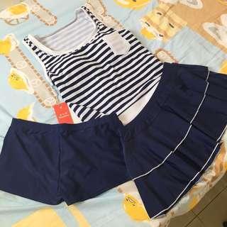 全新 女裝藍白間條三件套泳衣