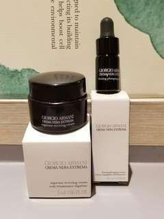 全新Sample一套2件專櫃直送Giorgio Armani Crema Nera Extrema Supreme Reviving Cream 5ml x 1 and Firming Plumping Essence 3ml x 1