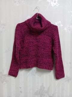 🚚 桃紫色短版毛衣