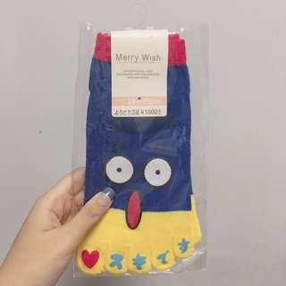 日本Merry Wish卡通驚訝表情腳趾襪x1