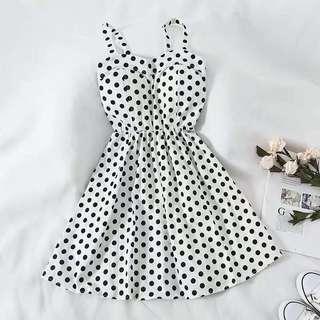🚚 Polka Dots Dress white retro