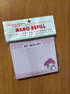 Sanrio My Melody memo refill