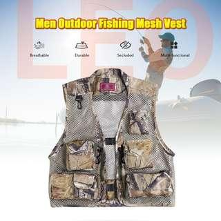 LEO 27913 - FC Outdoor Fishing Hunting Mesh Vest with Multiple Pockets (KHAKI) L