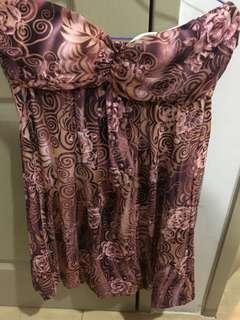 Purplish brown lace tube dress with rose design