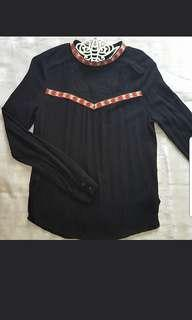 Black embroidery long sleeves top #H&M50
