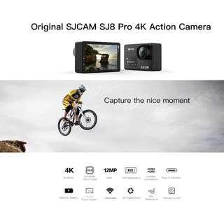 Original SJCAM SJ8 Pro 4K 60fps Dual Touch Screen WiFi Action Camera (WHITE) FULL SET