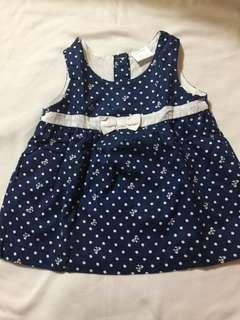 Baby Dress Navy Blue, Up to 6 Mos.
