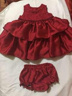 Periwinkle Baby Red Dress, 3mos