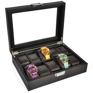10 Slot Full Carbon Fiber Watch Display Storage Box
