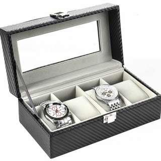4 Slot Carbon Fiber Watch Display Storage Box - Inner Grey
