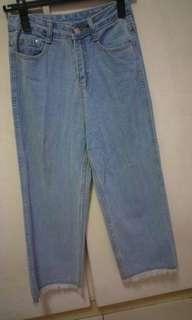 🚚 牛仔淺藍高腰直筒寬褲