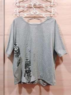 Grey Oversize Cut Out Top
