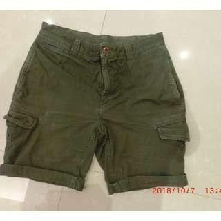 男 美國 總統御用 老品牌 BROOKS BROTHERS 100%棉 30腰 墨綠色 硬挺 硬磅 短褲 #