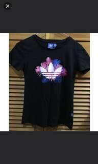 Adidas tee T-shirt floral pattern black 黑色 logo