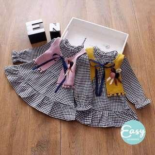 Baby Toddlers Long Sleeve 2PC Checkered Dress