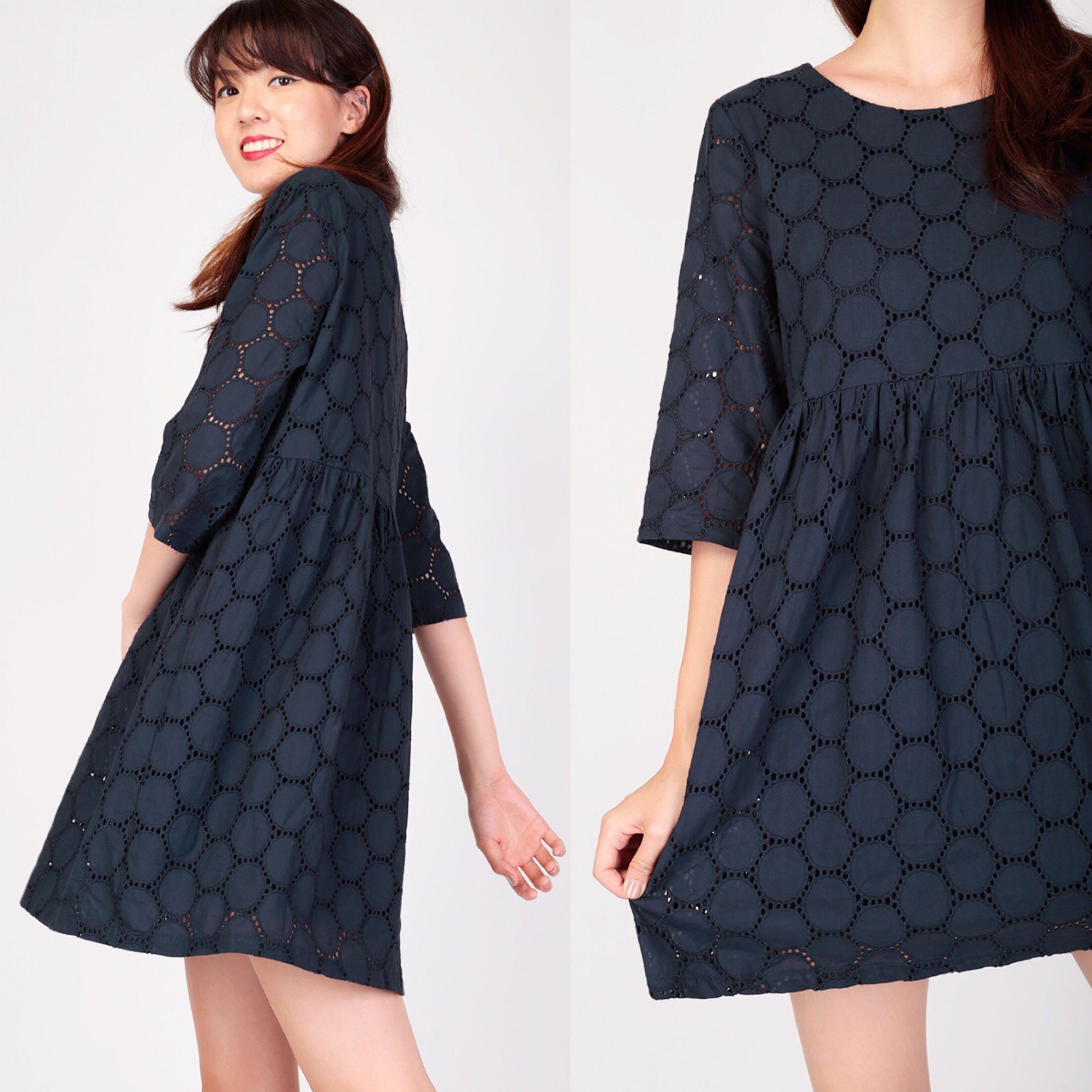 2411ae7c445a40 Aforarcade AFA I Spy Eyelet Dress in Navy, Women's Fashion, Clothes ...