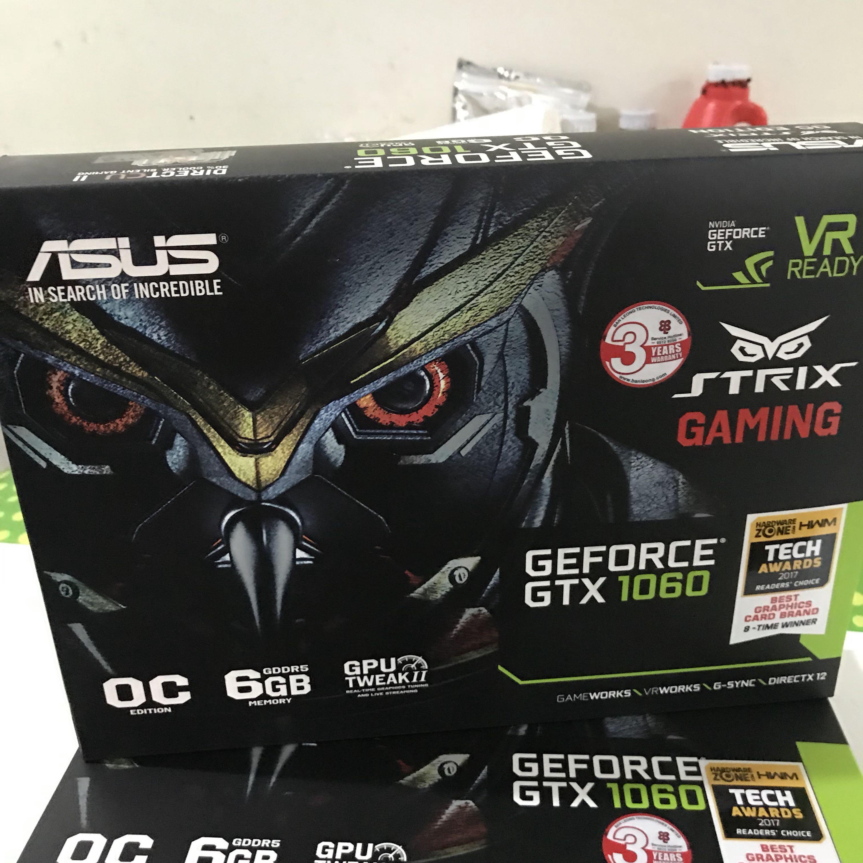Asus Strix GTX 1060 6gb, Electronics, Computer Parts