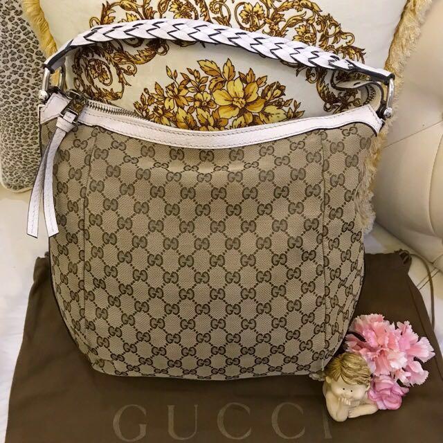 215822072da Authentic GUCCI GG Canvas Bamboo Bar Beige Hobo Shoulder Bag