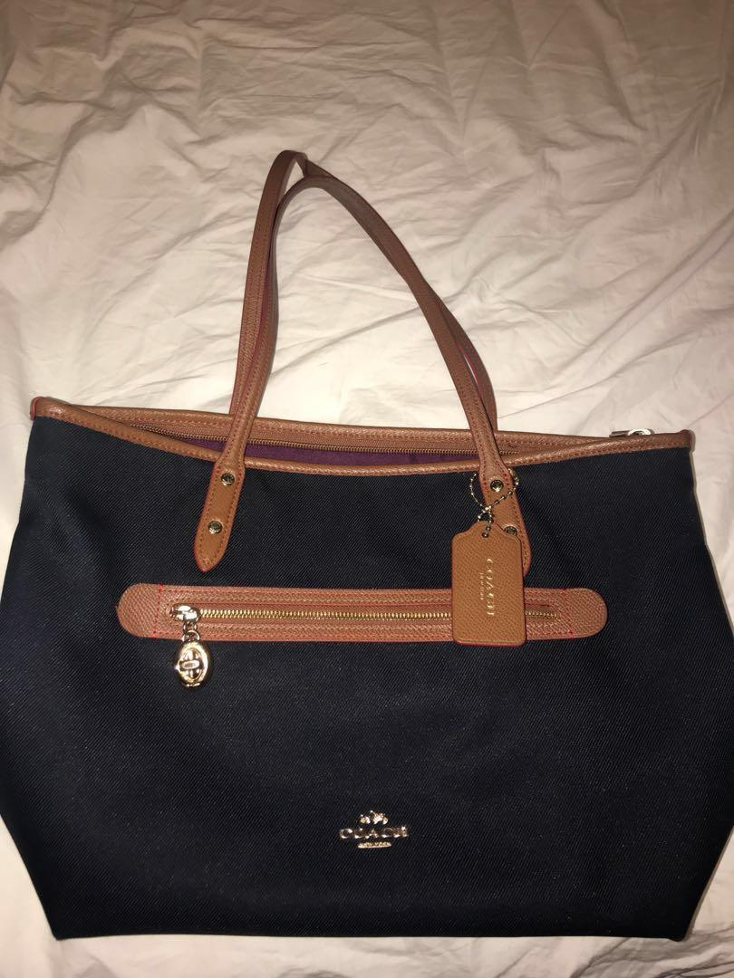 Coach Sayer Midnight Blue Tote Bag