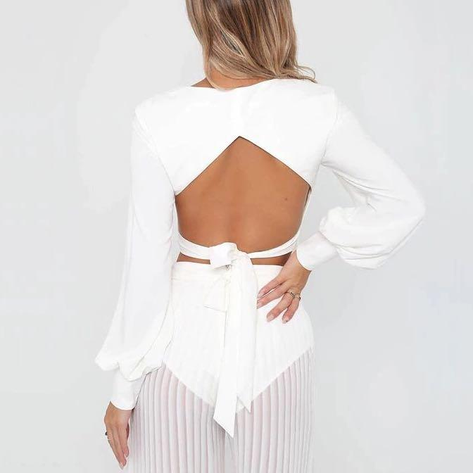 CORSET PUFF SLEEVE WITH OPEN BACK CROP