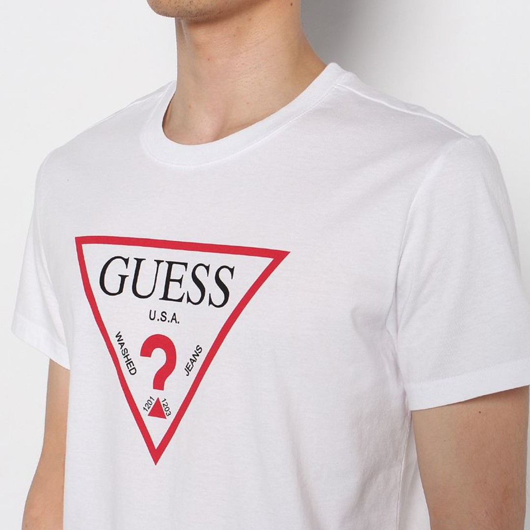 7183b9b31cc Guess Triangle Logo Tee, Men's Fashion, Clothes, Tops on Carousell
