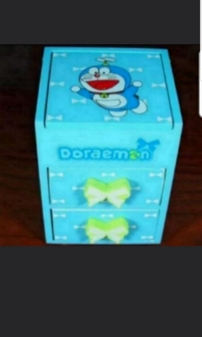 Instock Doraemon Jewellery Box Stationery Box With 2 Drawers And 1