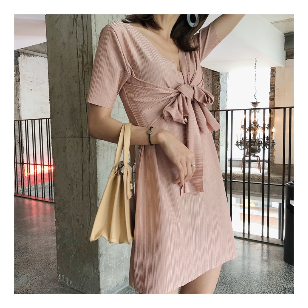 Korean Style Casual Dress In Pink Women S Fashion Clothes Dresses